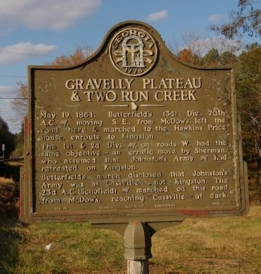 Gravelly Plateau & Two Run Creek Marker image. Click for full size.