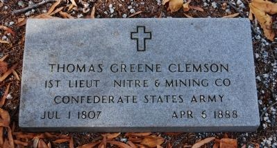 Thomas Green Clemson Tombstone<br>St. Paul&#39;s Episcopal Church<br>Pendleton, South Carolina image. Click for full size.