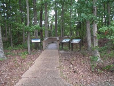 Markers in Skiffes Creek Historic Park image. Click for full size.
