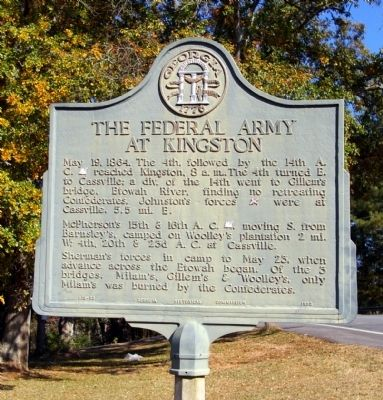 The Federal Army at Kingston Marker image. Click for full size.