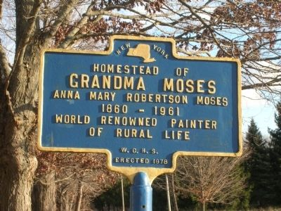 Homestead of Grandma Moses Marker - Eagle Bridge, New York image. Click for full size.