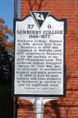 Newberry College Marker - Front image. Click for full size.