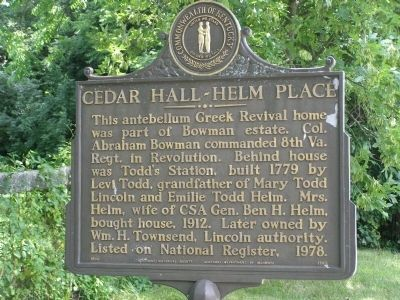 Cedar Hall - Helm Place Marker image. Click for full size.
