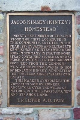 Jacob Kinsey (Kintzy) Homestead Marker image. Click for full size.