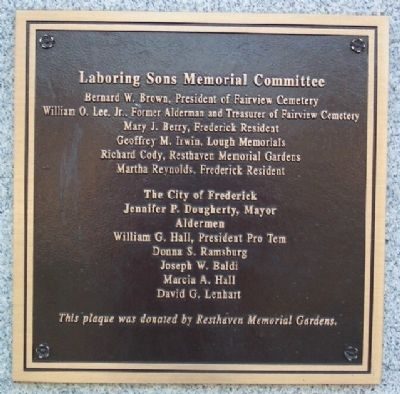 Laboring Sons Memorial Committee Marker image. Click for full size.