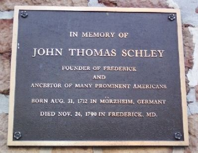 John Thomas Schley Marker image. Click for full size.