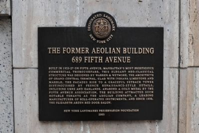 Former Aeolian Building Marker image. Click for full size.