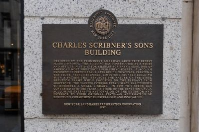 Charles Scribner's Sons Building Plaque image. Click for full size.