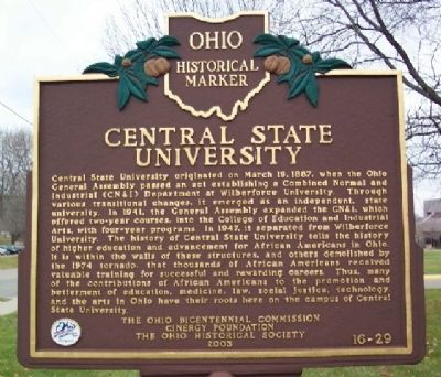Central State University Marker image. Click for full size.