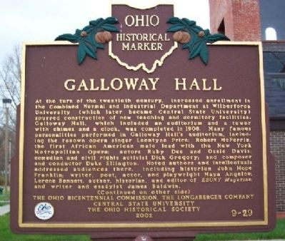 Galloway Hall Marker (side A) image. Click for full size.