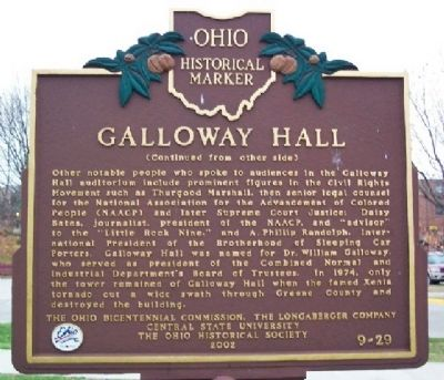 Galloway Hall Marker (side B) image. Click for full size.