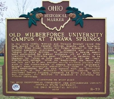 Old Wilberforce University Campus at Tawawa Springs Marker (side A) image. Click for full size.