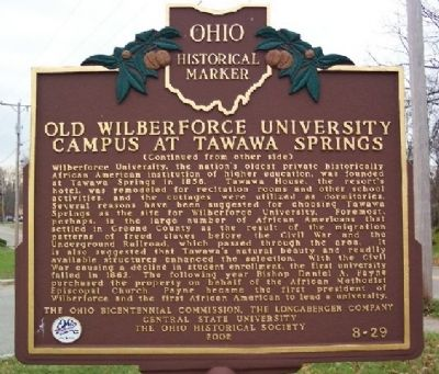 Old Wilberforce University Campus at Tawawa Springs Marker (side B) image. Click for full size.