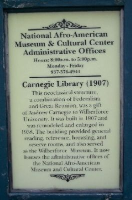 Carnegie Library (1907) Marker image. Click for full size.