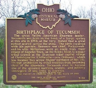 Birthplace of Tecumseh Marker </b>(front) image. Click for full size.