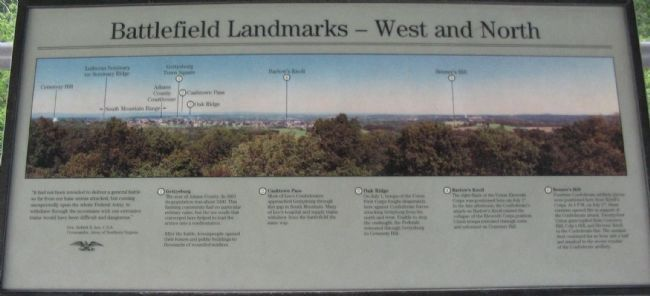 Battlefield Landmarks - North and West Marker image. Click for full size.