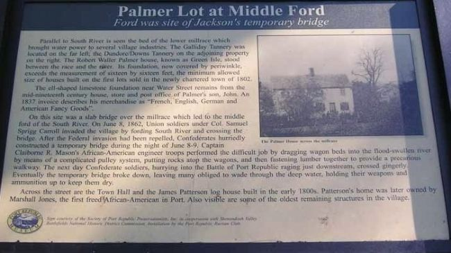 Palmer Lot at Middle Ford Marker image. Click for full size.