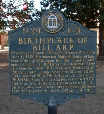 Birthplace of Bill Arp Marker image. Click for full size.