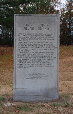 John C. Calhoun Memorial Highway Marker image. Click for full size.