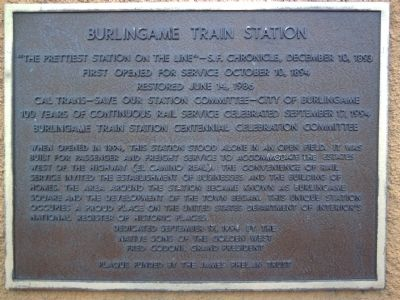 Burlingame Train Station Marker image. Click for full size.
