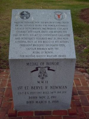 1st Lt Beryl R. Newman Marker image. Click for full size.