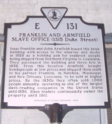 Franklin and Armfield Slave Office Marker image. Click for full size.