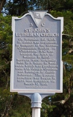 St. John's Lutheran Church Marker - Front image. Click for full size.