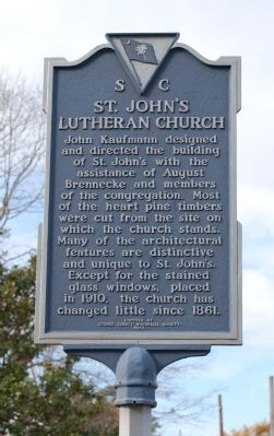 St. John's Lutheran Church Marker - Reverse image. Click for full size.