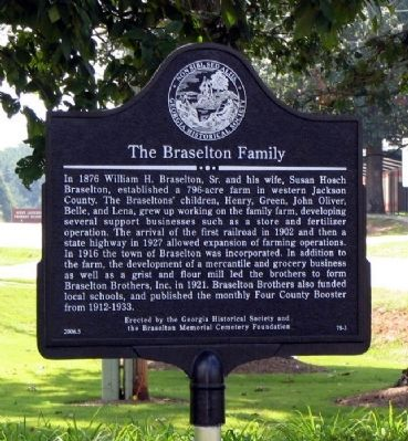 The Braselton Family Marker image. Click for full size.