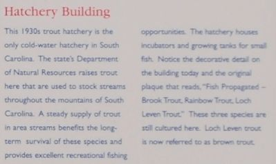 Walhalla State Fish Hatchery Marker - Hatchery Building image. Click for full size.