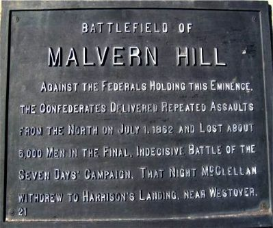 Battlefield of Malvern Hill Marker image. Click for full size.