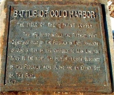 Battle of Cold Harbor Marker image. Click for full size.