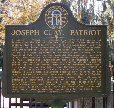 Joseph Clay, Patriot Marker image. Click for full size.