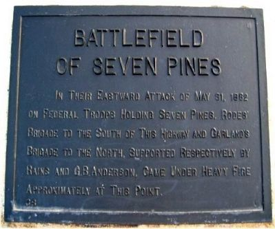 Battlefield of Seven Pines Marker image. Click for full size.