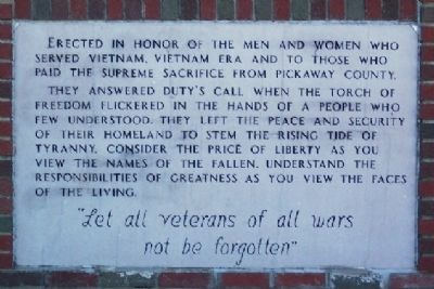 Pickaway County Vietnam Veterans Memorial Marker image. Click for full size.