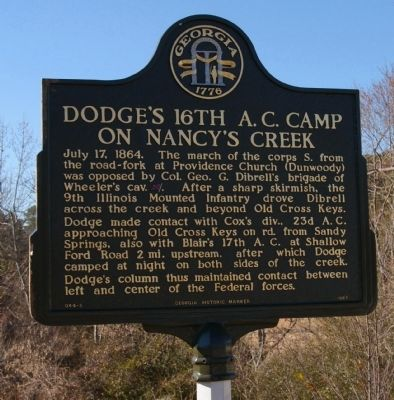 Dodge's 16th A.C. Camp on Nancy's Creek Marker image. Click for full size.