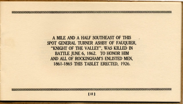 Battlefield Markers Asscociation, Western Division Booklet (1929)