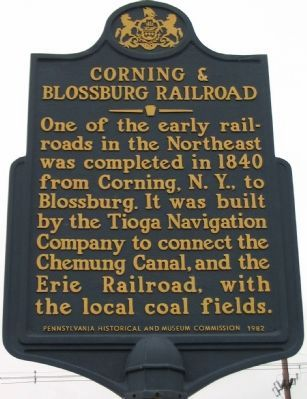 Corning & Blossburg Railroad Marker image. Click for full size.