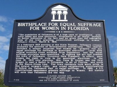 Birthplace for Equal Suffrage for Women in Florida Marker image. Click for full size.