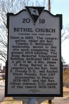 Bethel Church Marker image. Click for full size.