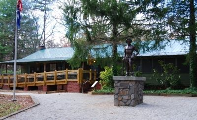 Civilian Conservation Corps Monument with State Park Shop and Meeting Room image. Click for full size.