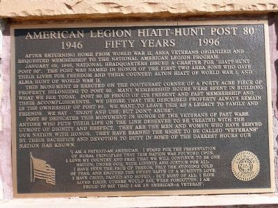 American Legion Hiatt-Hunt Post 80 Marker image. Click for full size.