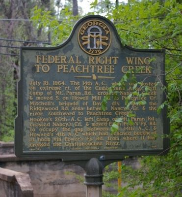Federal Right Wing to Peachtree Creek Marker image. Click for full size.