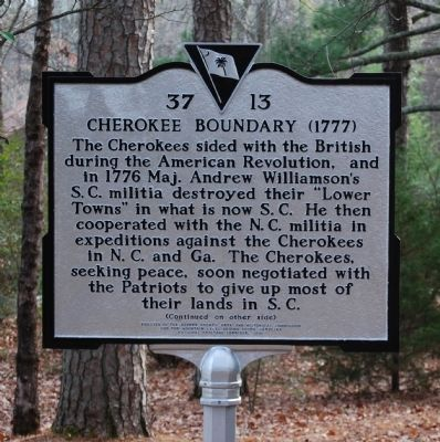 Cherokee Boundary (1777) Marker - Front image. Click for full size.