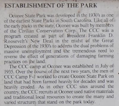 The Oconee Waterwheel Marker: Establishment of the Park image. Click for full size.