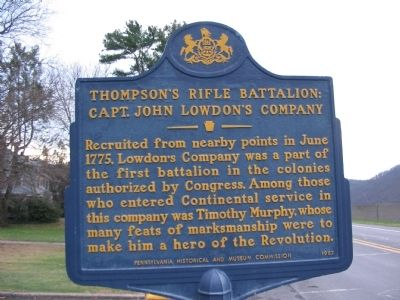 Thompson's Rifle Battalion: Marker image. Click for full size.