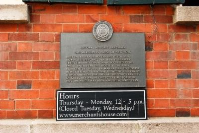 Old Merchants House of New York Marker image. Click for full size.