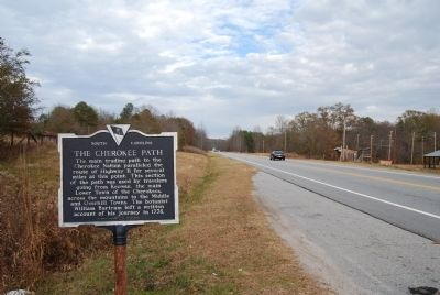 The Cherokee Path Marker Looking Northeast Along Highway 11 image. Click for full size.