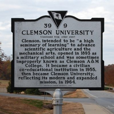 Clemson University Marker - Reverse image. Click for full size.