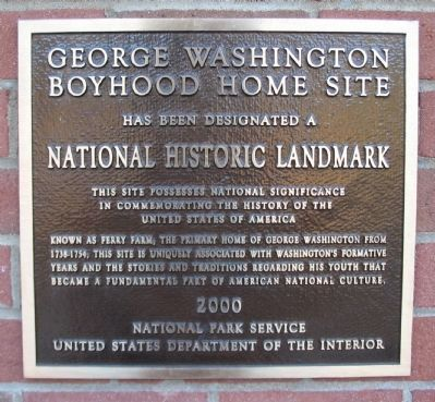 George Washington Boyhood Home Site Marker image. Click for full size.